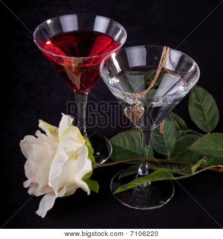 Rose And Two Glasses Of Cocktails