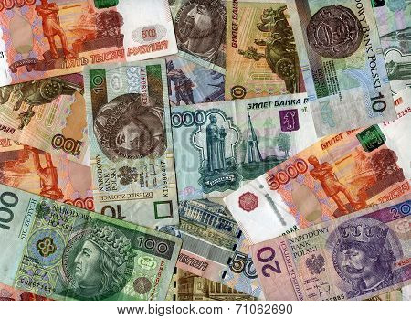 Background. Russian Rubles And Polish Zloty