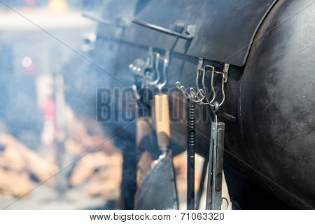 Barbecue smoker ready for summer cooking in Colorado.