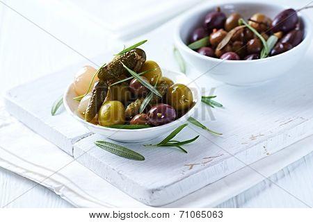 Pickled Olives and Gherkins