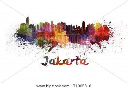 Jakarta Skyline In Watercolor