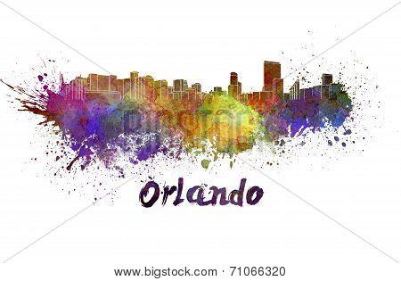Orlando Skyline In Watercolor