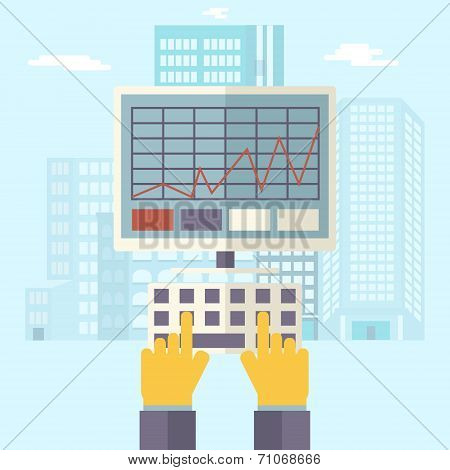 Retro Business Hands Keyboard and PC Monitor with Financial Infographics Symbol Real Estate City Tre