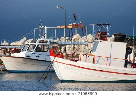 Fishing boats moored in port in Zante town, Zakynthos, Greece