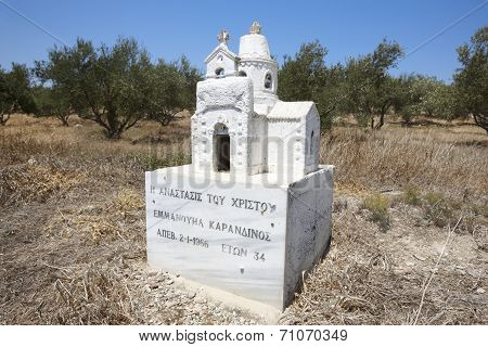 Cretan Funeral Memorial Little Church Made Of Stone. Greece