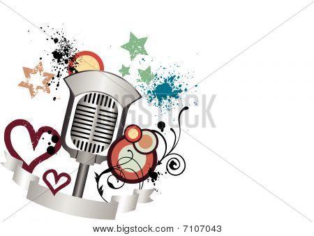 Grunge, old, vintage microphone illustration