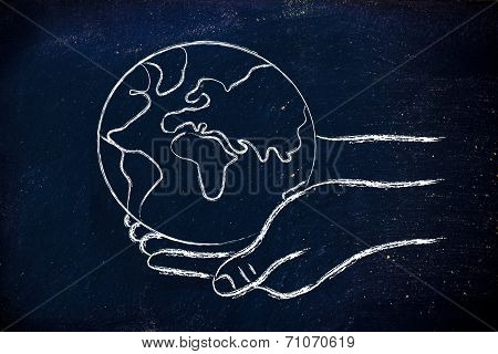 Green Economy: Hands Holding The Planet