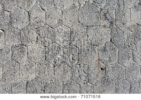 Stone Wall With Irregular Hexagons