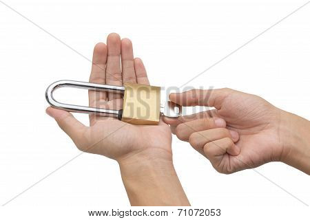 Hand Holding, Locking And Unlocking Brass Padlock Isolated Over White Background
