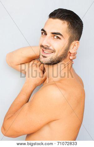 Handsome Man Half Naked On White Background