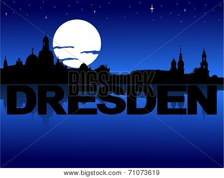 Dresden skyline reflected with text and moon vector illustration