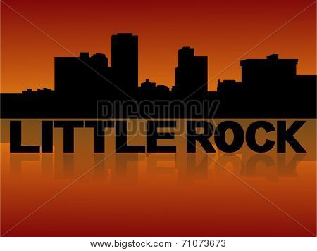 Little Rock skyline reflected with text and sunset vector illustration