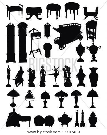 Antique Objects Silhouettes