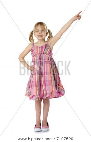 Female Child Pointing Upward