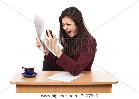 Businesswoman Yelling On Phone