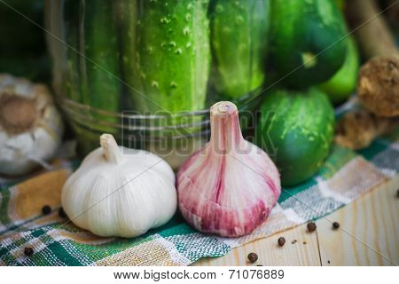 Closeup Head Garlic Vicinity Ingredients Pickling Cucumbers