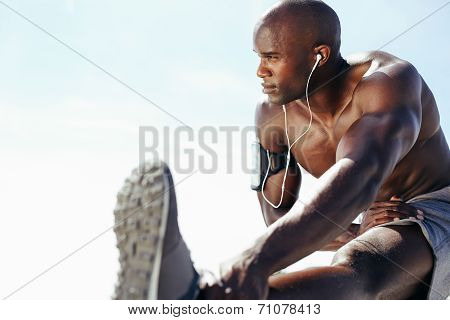 Shirtless Man Exercising Outdoors