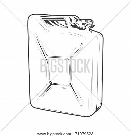 Jerrycan Isolated On A White Background. Line Art. Retro Design. Vector Illustration.