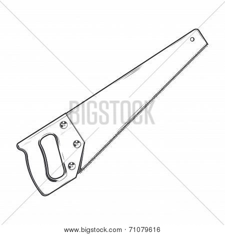 Handsaw Isolated On A White Background. Line Art. Retro Design. Vector Illustration.