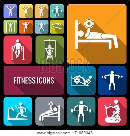 Workout training icons set flat