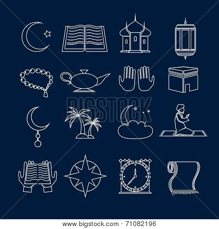 Islam icons set outline