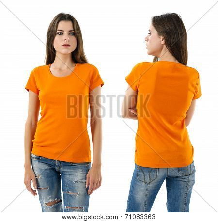 Sexy Woman With Blank Orange Shirt And Jeans