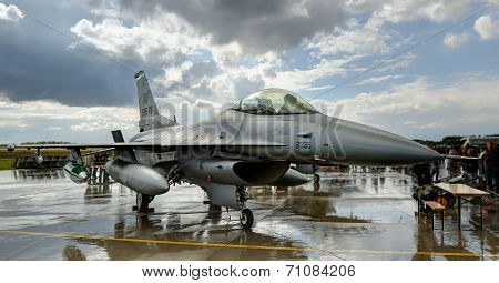 General Dynamics F-16 jet during static display