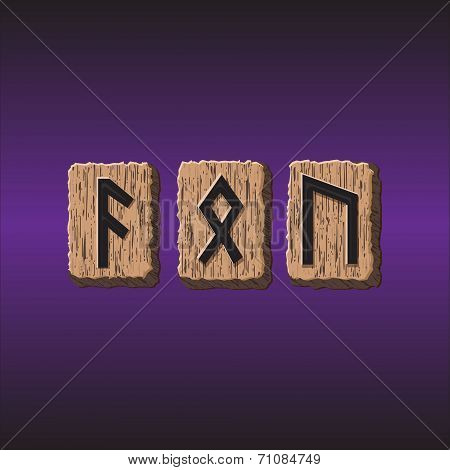 Norwegian Rune icons vector Set of three pieces