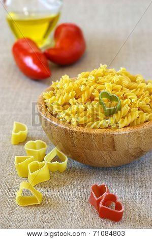 Ingredients Italian Cuisine: Macaroni And Tomatoes