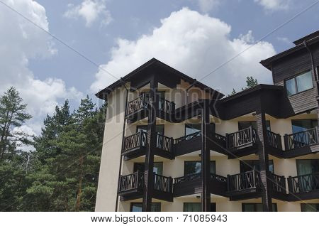Fragment of new modern buildings in the Rila mountains
