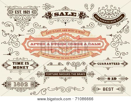 Vector. Set of calligraphic design elements: Labels, banners, baroque frames and floral ornaments collection