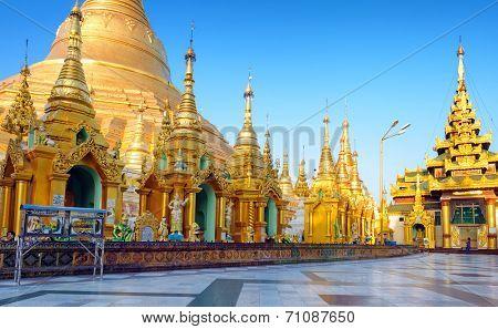 Shwedagon pagoda and temple in Myanmar, Yangon. Golden stupa in Burma