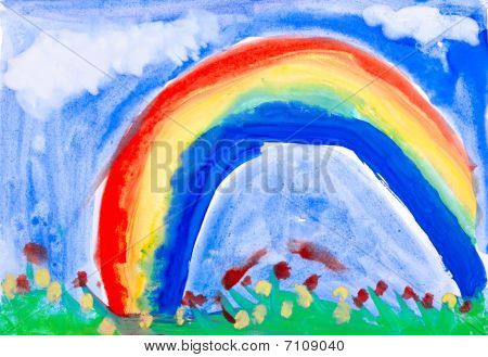 Drawing By Hand A Water Colour. Summer Meadow, Rain, Rainbow.
