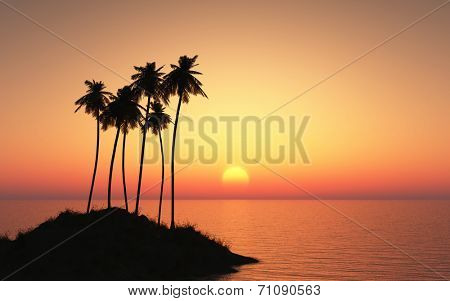 3D render of a plam tree island against a sunset sky