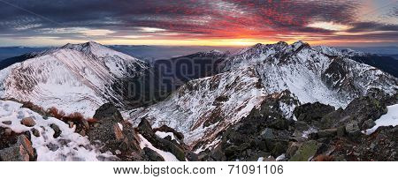 Majestic Sunset In Winter Mountains Landscape