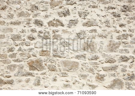 Stonewall With White Cement Detail. Horizontal