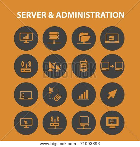 server administration interface isolated icons, signs, vectors, illustrations, silhouettes set, vector
