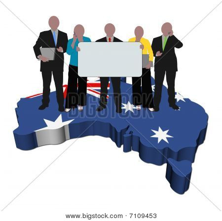 Business Team With Sign On Australia Map Flag Illustration