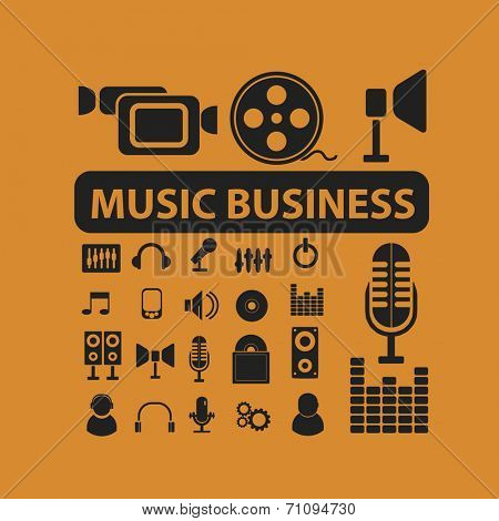 music, recording, audio isolated icons, signs, vectors, illustrations, silhouettes set, vector