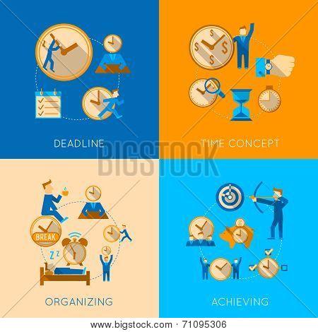 Time management flat composition icons set