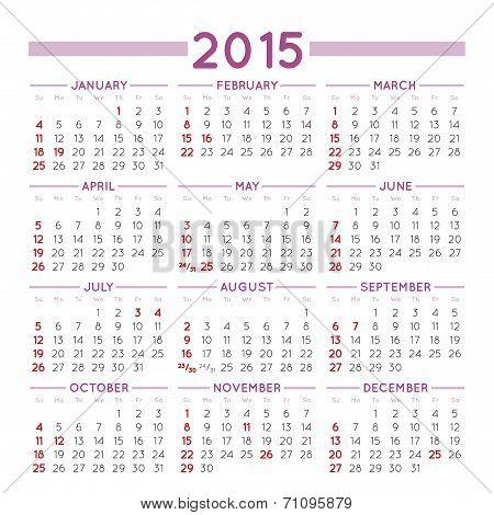2015 Squared Calendar Usa