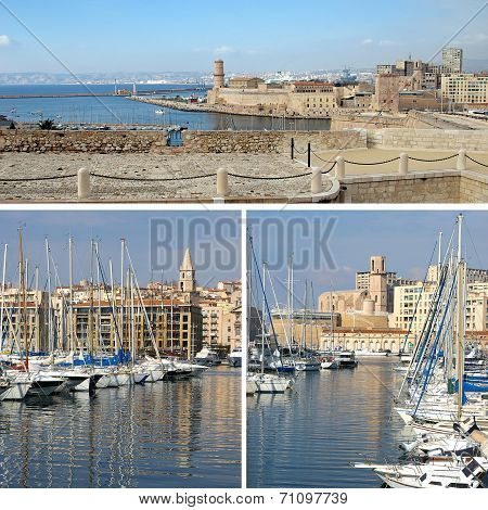 Southern France:  Landmarks In Marseille, Old Port, Collage