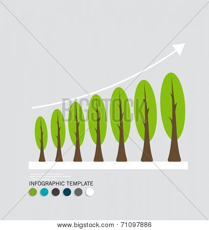 Green economy concept : Graph of growing sustainable environment with business. Vector illustration.