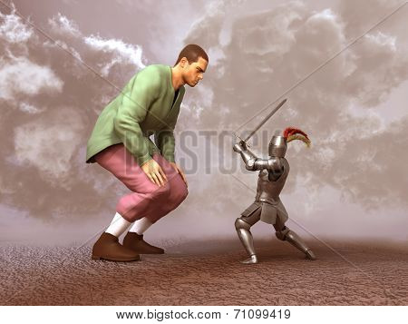 Knight confronting a giant
