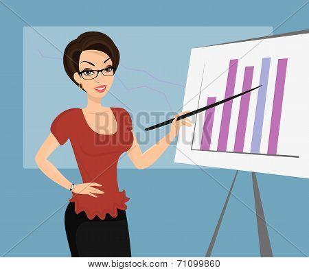 Female teacher is demonstrating a diagram