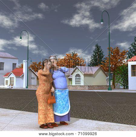 Women gossiping in the street
