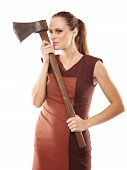 pic of ax  - Halloween image with a crazy young woman holding a rusty old ax - JPG