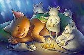 foto of mouse  - the mice read book to a kitten at the night - JPG