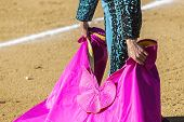 foto of bullfighting  - Spanish Bullfighter with the Cape in the Sabiote bullring Sabiote Jaen pronvince Spain