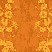 pic of ipomoea  - Floral background with Ipomoea flowers and leaves and abstract pattern - JPG